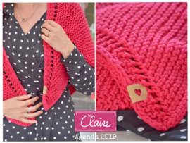 byClaire Chunky Cotton Rasberry breipatroon omslagdoek