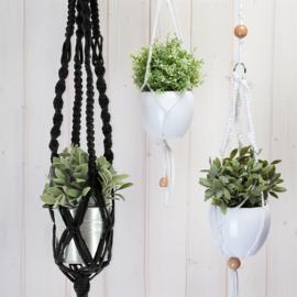 Macramé plantenhanger kit met Zpagetti garen zwart