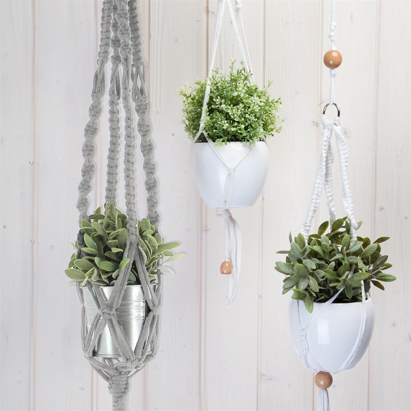 Macramé plantenhanger kit met Zpagetti  grijs