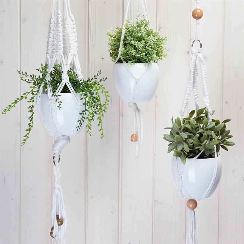 Macramé plantenhanger kit met Zpagetti garen wit