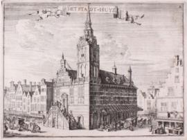 Prent stadhuis Rotterdam.