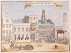 Stadsgezicht op stadhuis Utrecht.