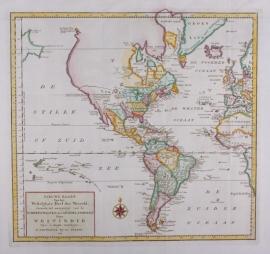 Kaart Noord en Zuid Amerika