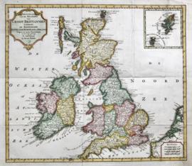 Kaart Engeland, Schotland en Ierland