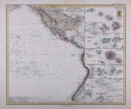 Kaart Australië, Polynesië en de Stille Oceaan