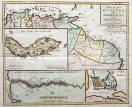 Kaart Curacao en Suriname.