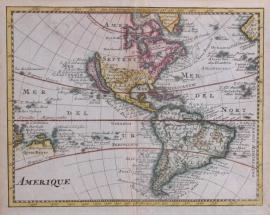 Kaartje van Noord en Zuid Amerika