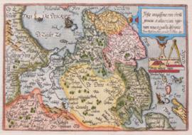 Kaart en Friesland, Drenthe, en Groningen