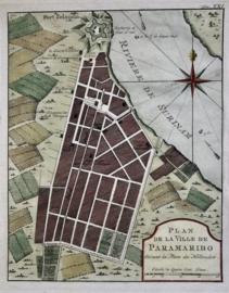 Plattegrond van Paramaribo.