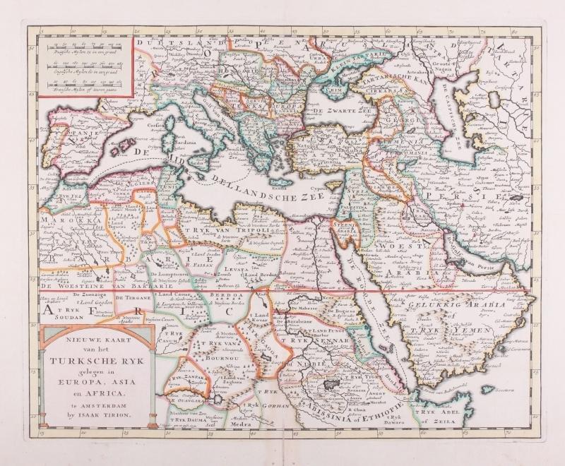 Kaart Europa, Azië en Africa