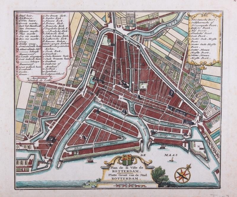 Plattegrond van Rotterdam.