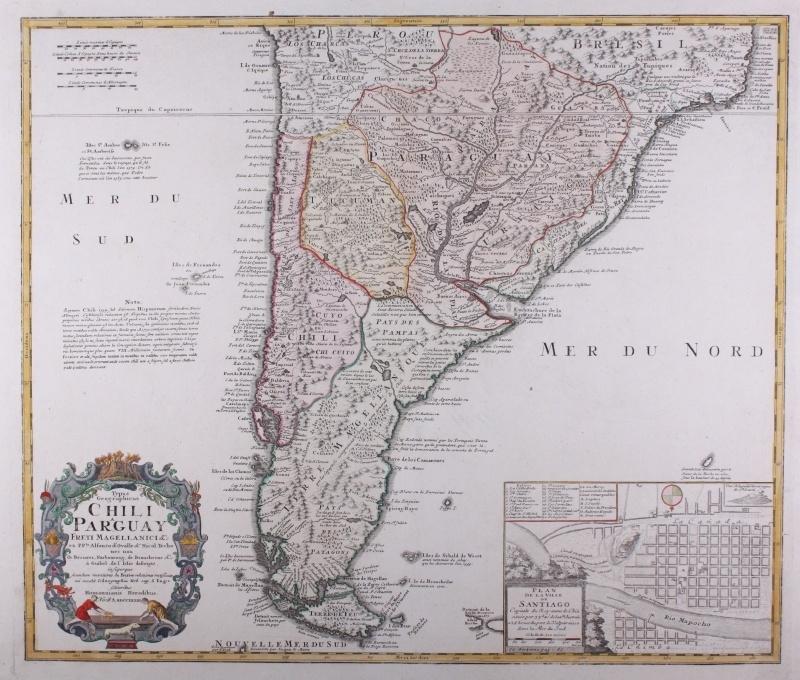 Kaart Chili en Paraguay