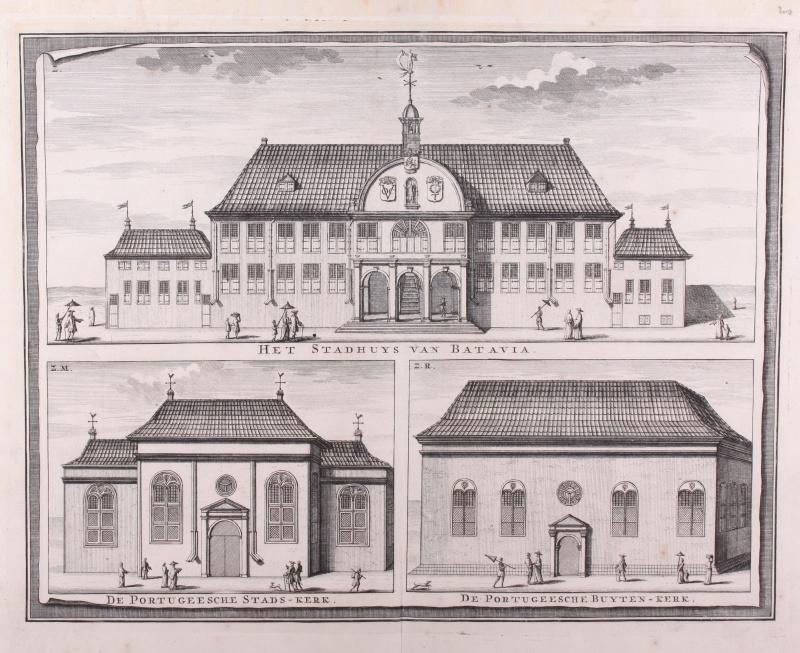 Gezicht op stadhuis Batavia