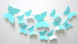 Effen lichtblauwe 3D-vlinders