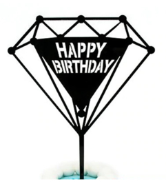 "Taarttopper ""Happy Birthday"" diamant"