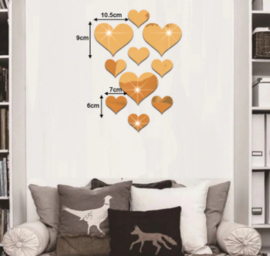 Gouden hartjes stickers (spiegel)