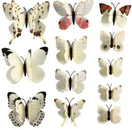 Dubbele witte 3D-vlinders