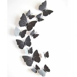 Zwarte 3D-vlinders