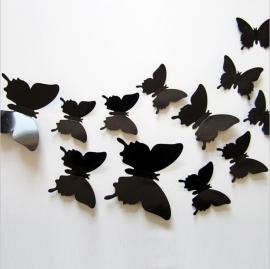 Effen zwarte 3D-vlinders