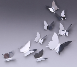 Spiegel zilver 3D-vlinders