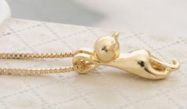 Hangende kat ketting (goud)