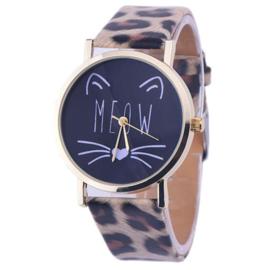 Horloge meow met luipaard band