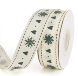 """Wit cadeaulint """"Hartjes en sneeuwvlokken"""" (9 meter)"""