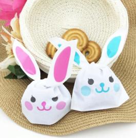 Happy bunny traktatie zakjes roze (klein)