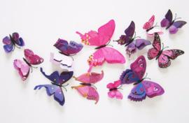 Dubbele paarse 3D-vlinders