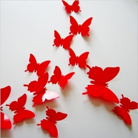 Effen rode 3D-vlinders
