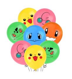 Pokémon face ballonnen (10 stuks)