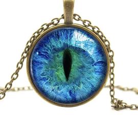 Ketting cat eye blauw