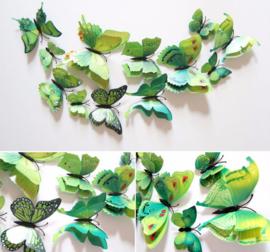Dubbele groene 3D-vlinders