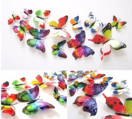 Dubbele regenboog 3D-vlinders
