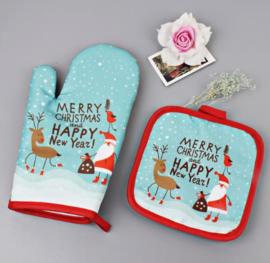 Kerst ovenwant en pannenlap