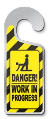 Deurhanger 'Danger work in progress'