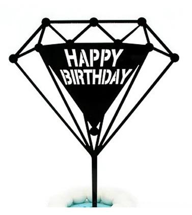 "Taarttopper ""Happy Birthday"" diamant"