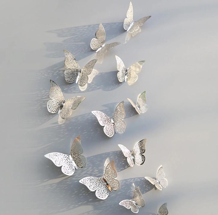 Zilveren 3D-vlinders