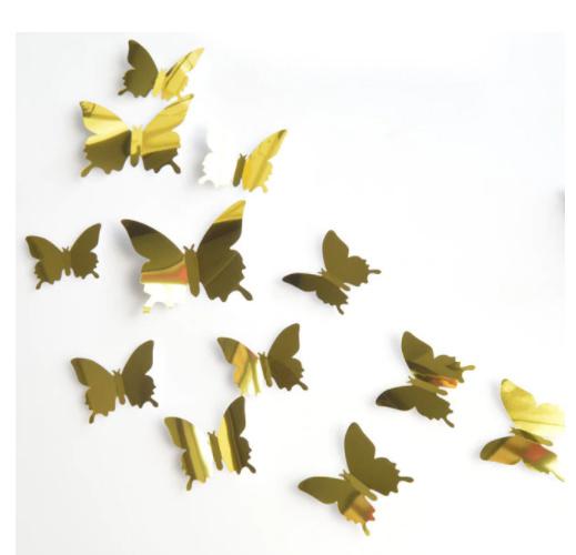 Spiegel goud 3D-vlinders