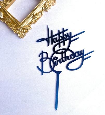 """Taarttopper """"Happy Birthday"""" zwart"""
