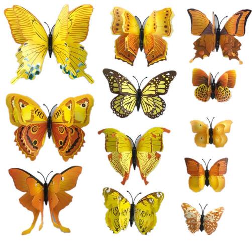 Dubbele gele 3D-vlinders