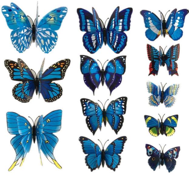 Dubbele blauwe 3D-vlinders