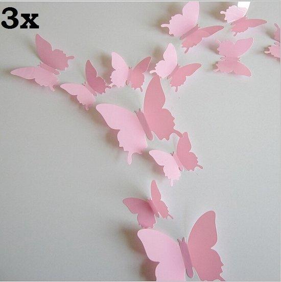 3x Effen roze