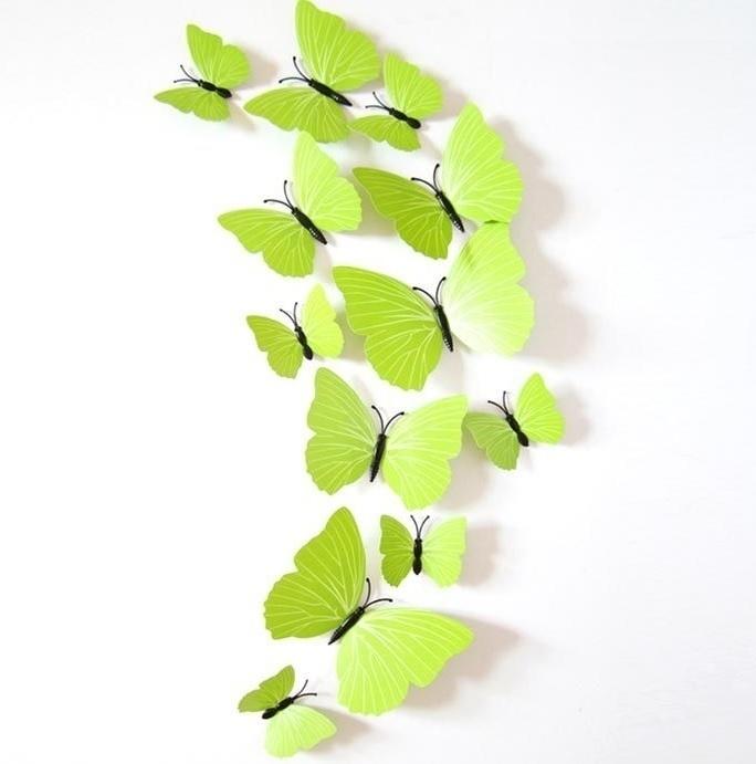 Lime groene 3D-vlinders