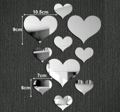 Zilveren hartjes stickers (spiegel)