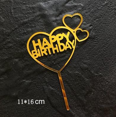"Taarttopper ""Happy Birthday"" hartjes"
