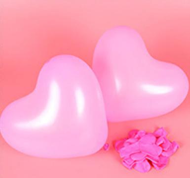 Hartjes ballonnen licht roze (10 stuks)