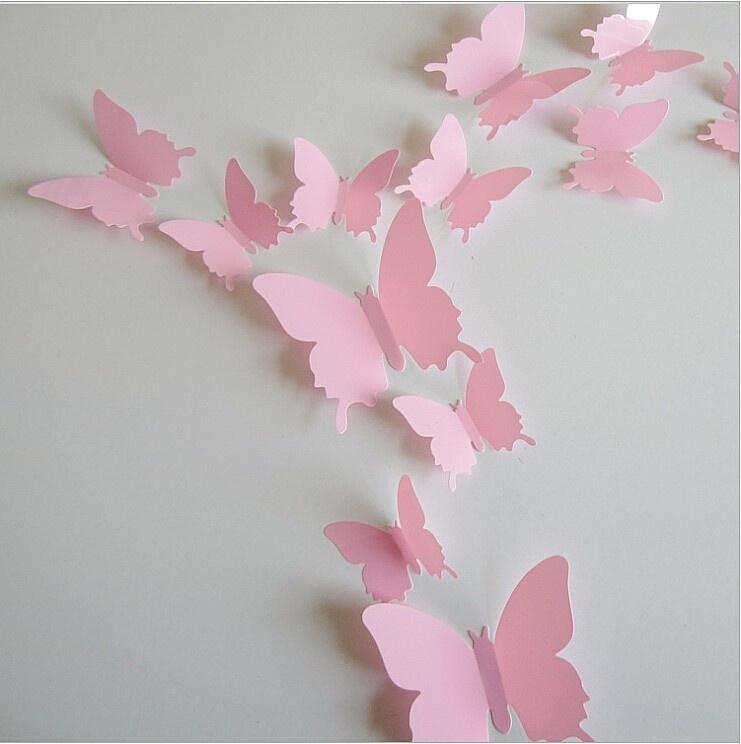 Effen roze 3D-vlinders