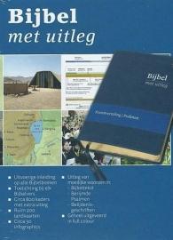 Bijbel met uitleg MIDDEL 170x240 mm, flexibele band in luxe doos, goudsnede, blauw