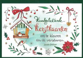 BIKKER, Linda - Handgeletterde kerstkaarten om te kleuren